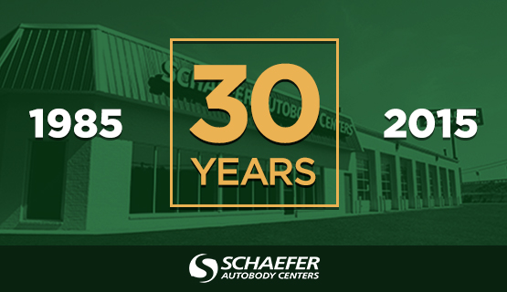 30 years overlayed on green background on top of photo of schaefer location