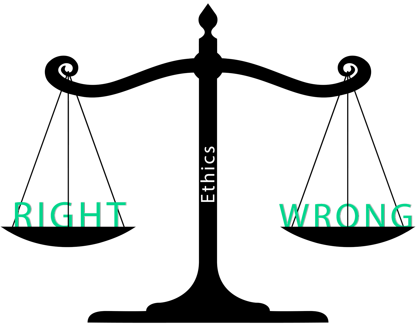 scale of justice holding right and wrong