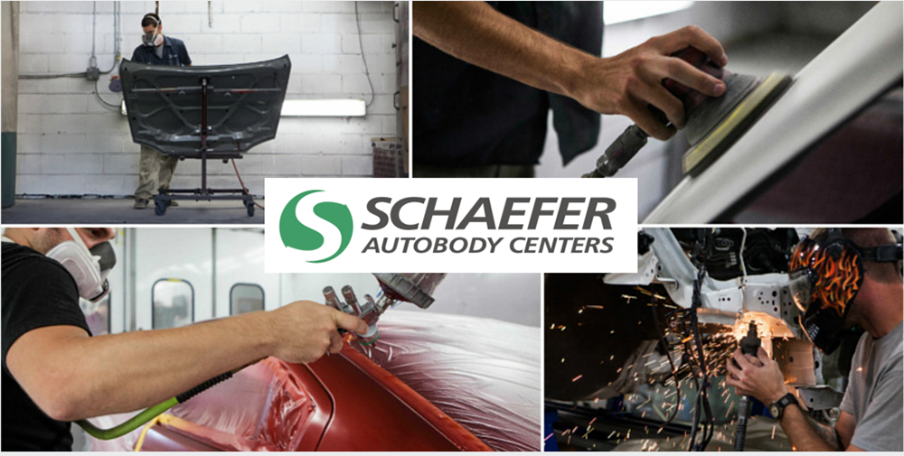 schaefer logo over four photos of technicians working on vehicles