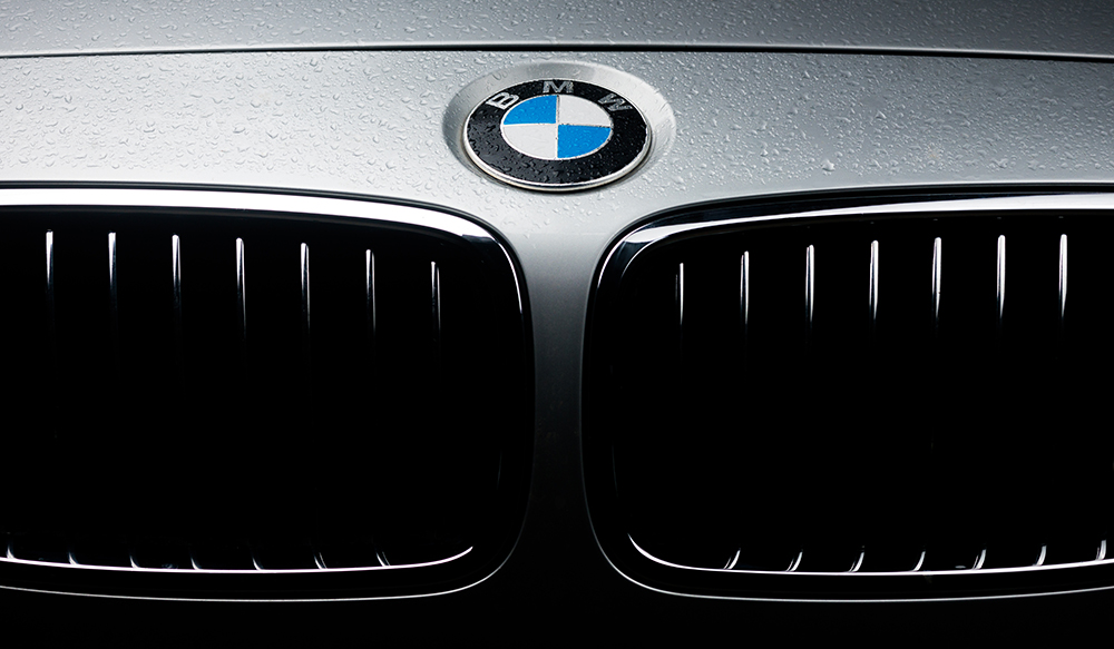front grill of silver BMW