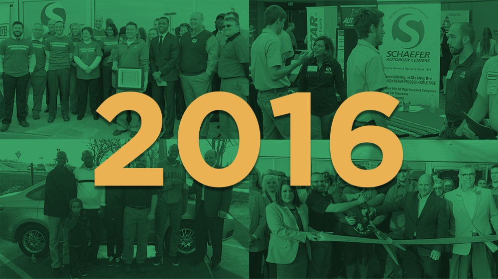 2016 over a green overlay atop four photos of people