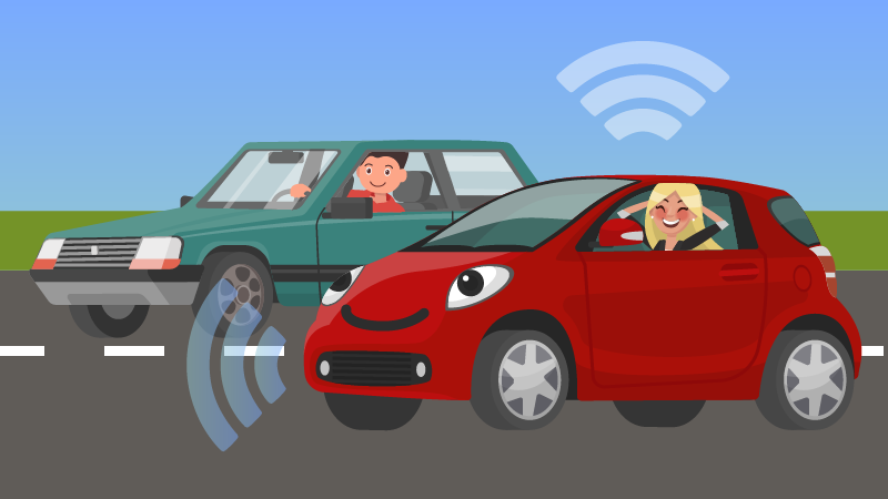 illustration of two cars driving, one without a driver