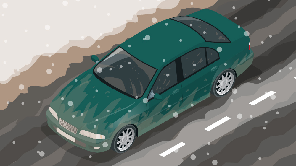 illustration of car in snowy weather driving down the road