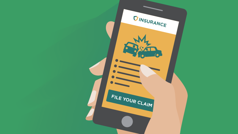 illustration of person holding phone open to car insurance app