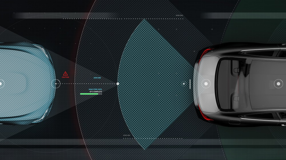 Smart car sensors - futuristic concept (with grunge overlay) - 3D illustration