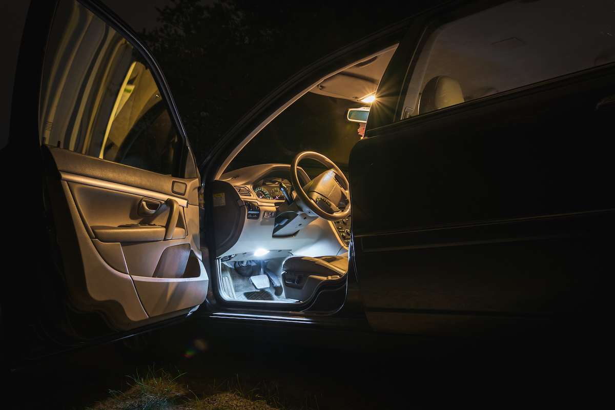 Car interior at night