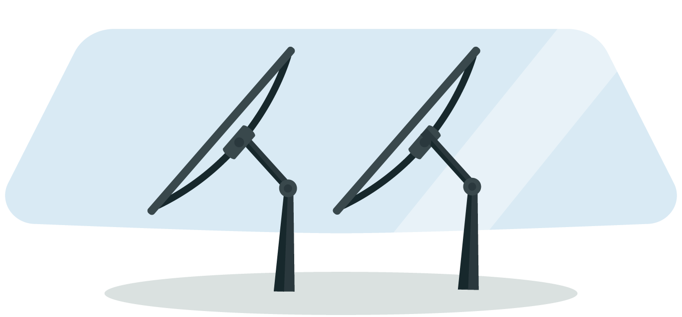 Illustration of wiper blades in front of windshield