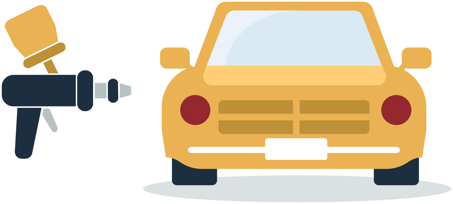 Illustration of paint tool in front of yellow car