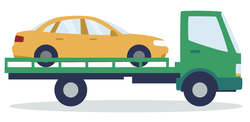 yellow car on green, flatbed tow truck