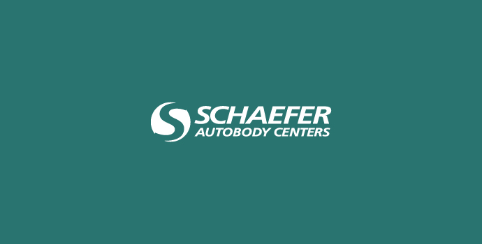 White Schaefer Autobody logo on green background